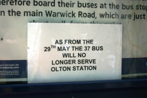 Sign at Olton Station Bus Stop